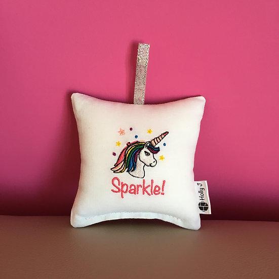 'Sparkle!' Mini Unicorn Hanging Cushion