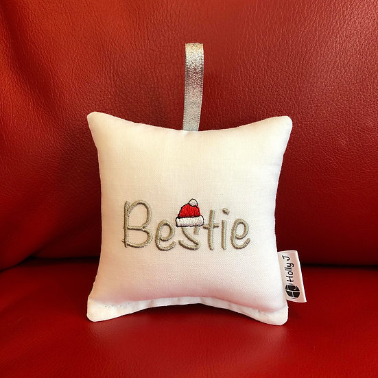 'Bestie' Christmas Mini Hanging Cushion