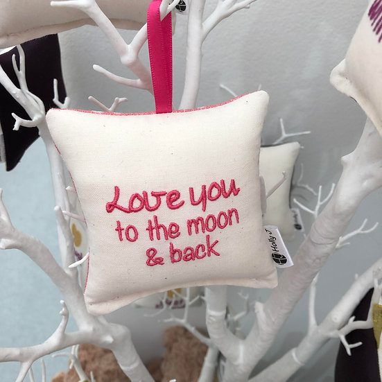 'Love you to the moon & back' Mini Hanging Cushion