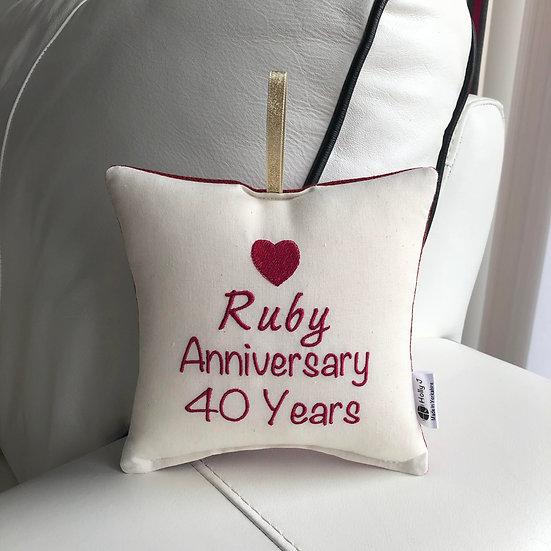 'Ruby Anniversary 40 Years' Hanging Cushion