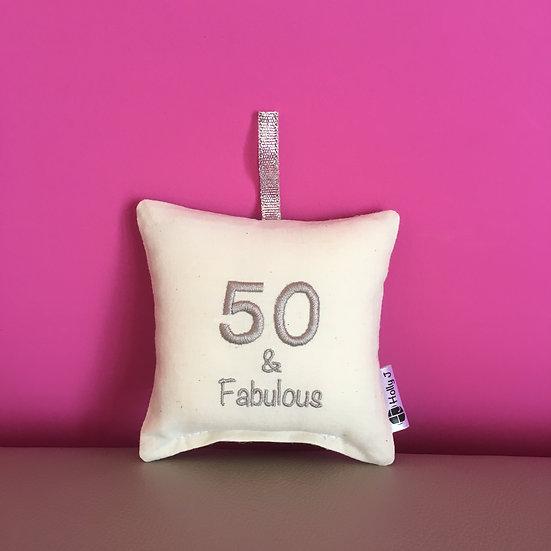 '50 & Fabulous' Mini Hanging Cushion