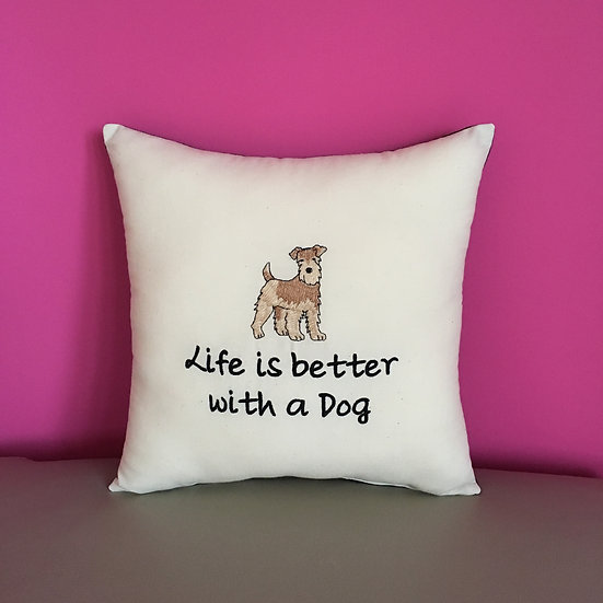 'Life is better with a Dog' Cushion
