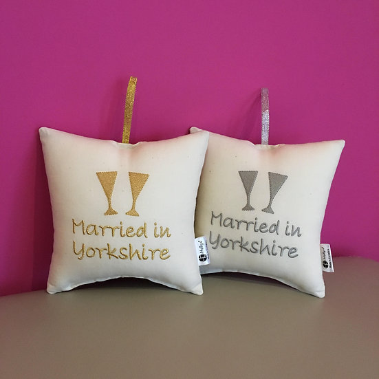 'Married in Yorkshire' Hanging Cushion