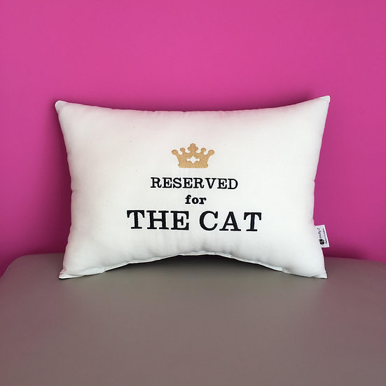 'Reserved for The Cat' Bolster Cushion