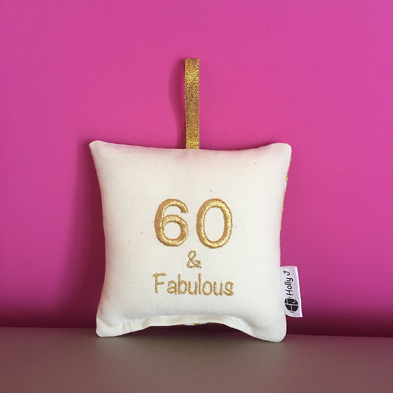 '60 & Fabulous' Mini Hanging Cushion