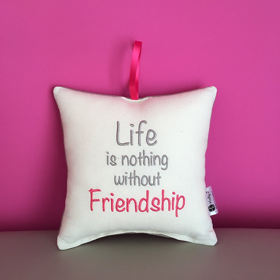 'Life is nothing without Friendship' Hanging Cushion