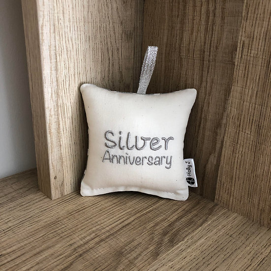 'Silver Anniversary' Mini Hanging Cushion
