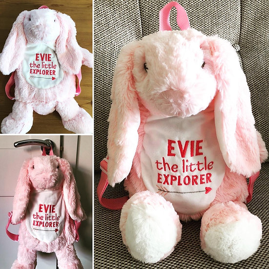 '(NAME) the little Explorer' Bunny Backpack