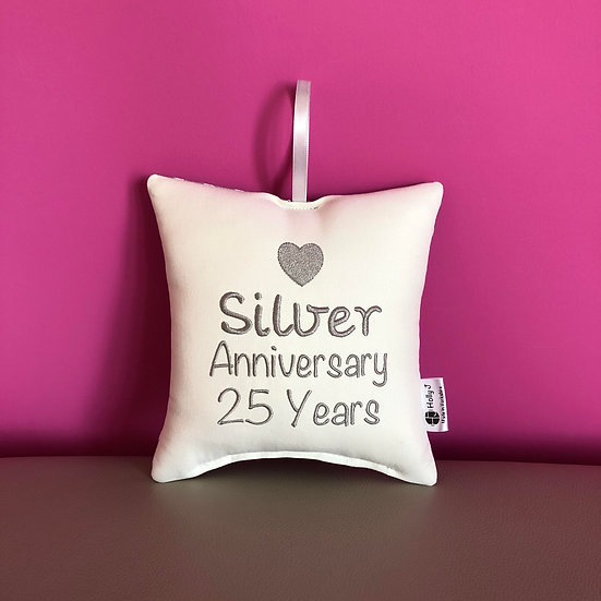 'Silver Anniversary 25 Years' Hanging Cushion