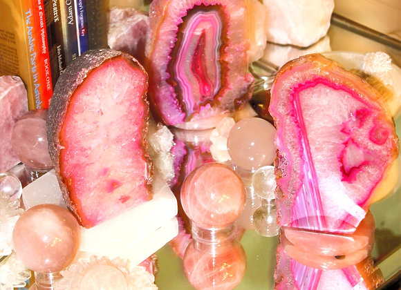 Pink Geode Bookends