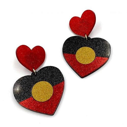 Indigenous Pride Glitter heart earrings