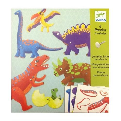Pantins à colorier Dino Djeco