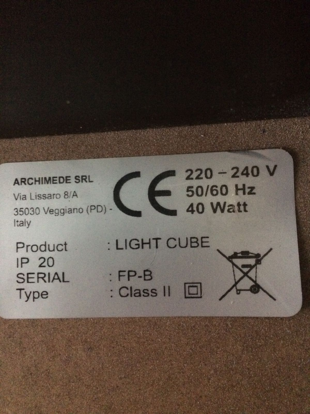 Lampes cubes lumineux IP20
