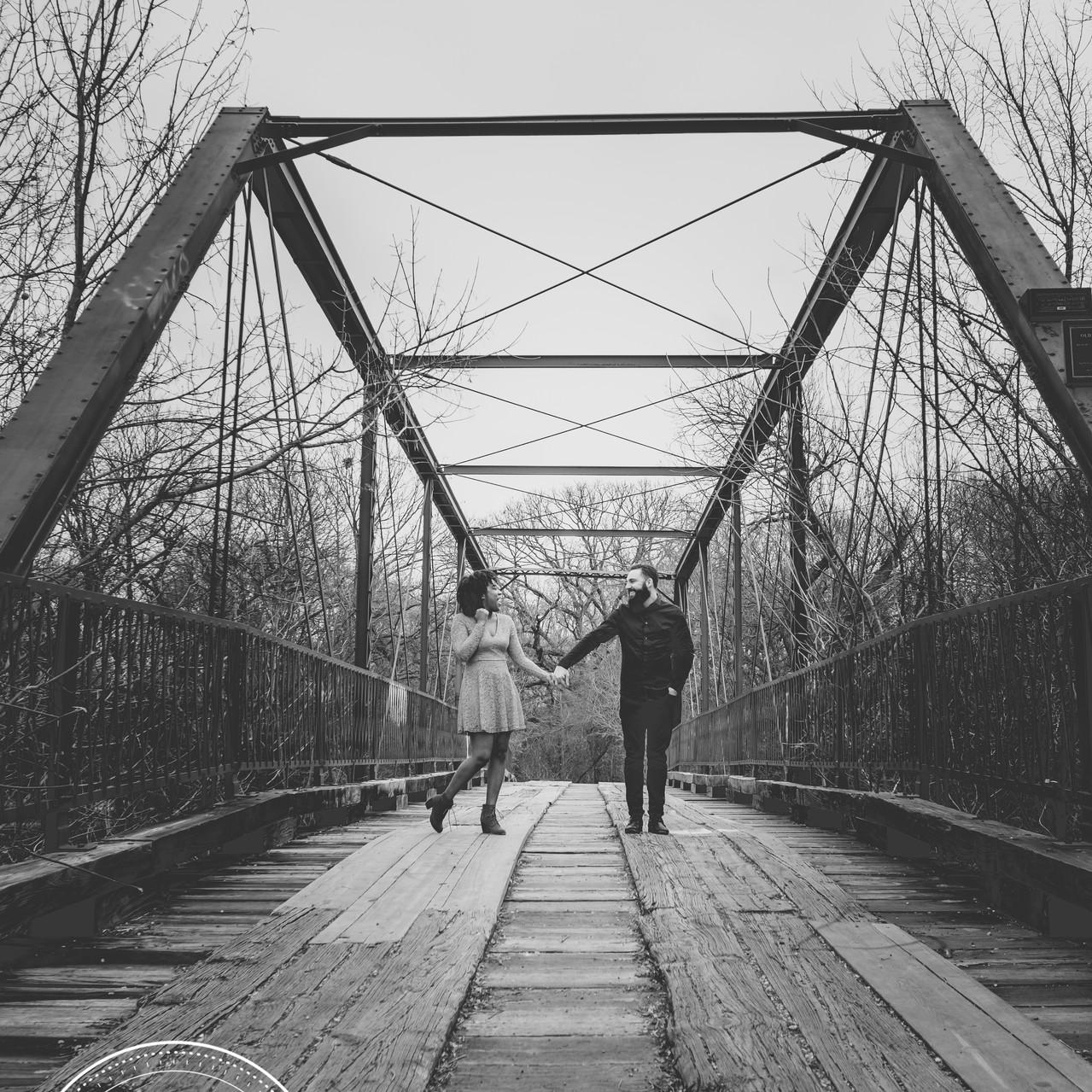 Couple on Old Alton Bridge in Denton Tx