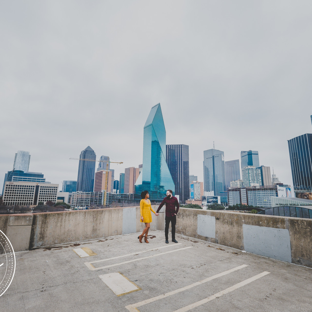Engaged Couple in Front of Dallas Skyline