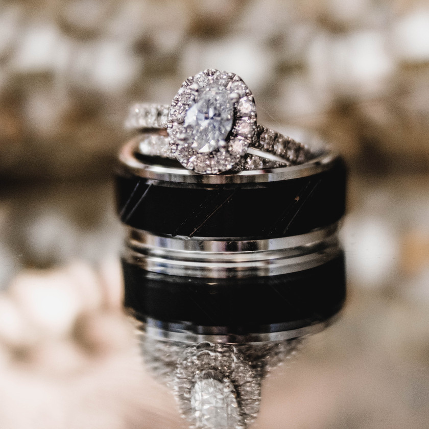 Diamond ring with wedding band
