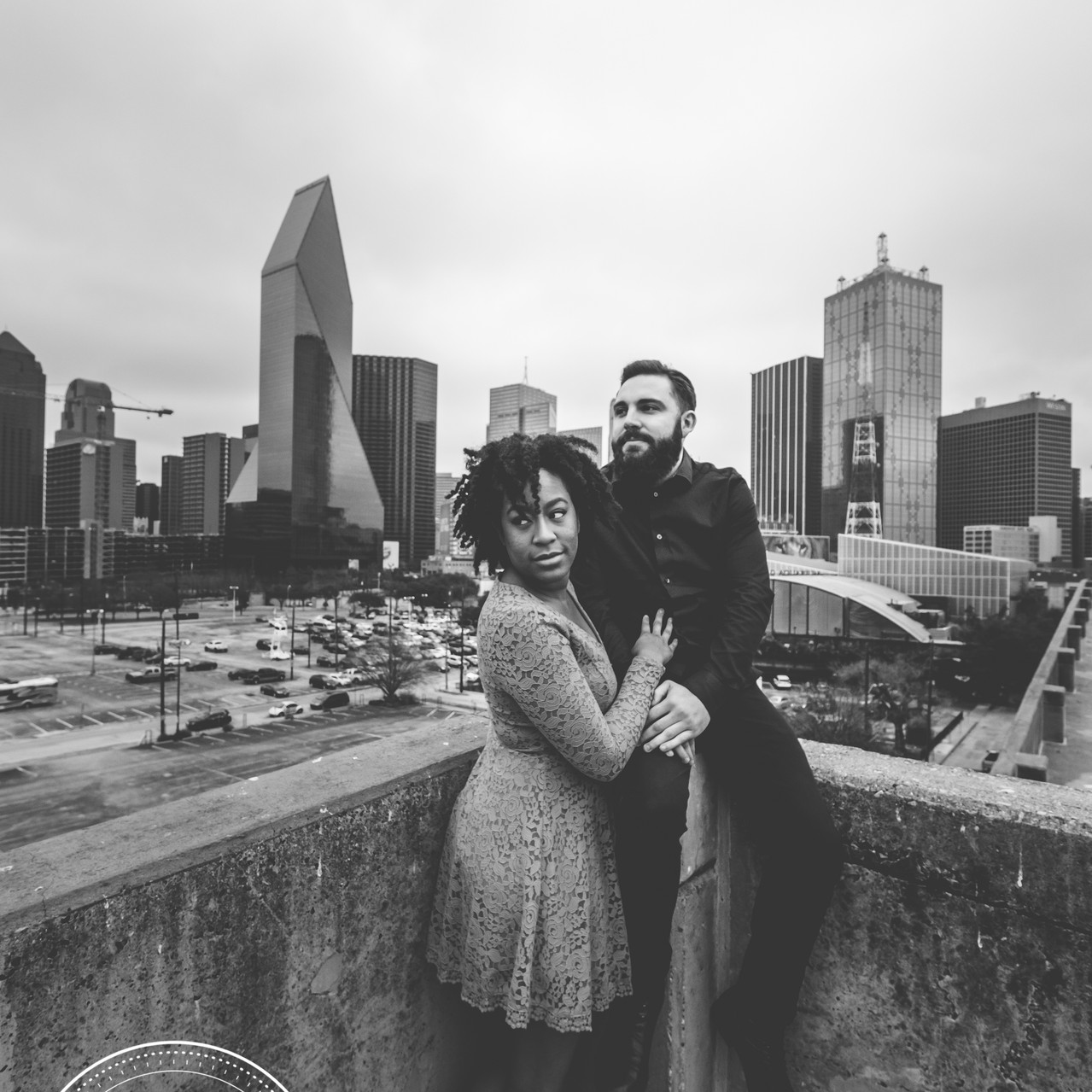Engaged Couple in Front of Dallas Skyline.