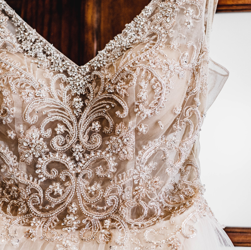 Beaded top of a wedding gown