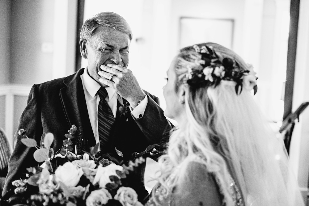 Father crying while looking at his daughter on the wedding day