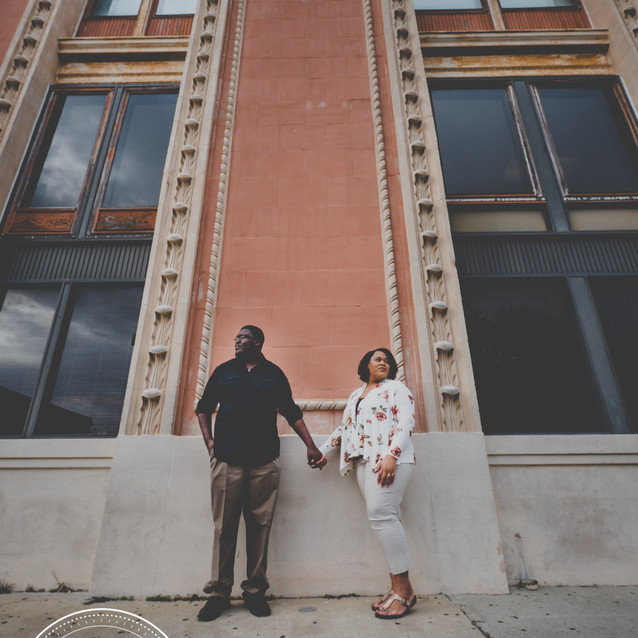 Engaged Couple in Downtown Pensacola, Fl