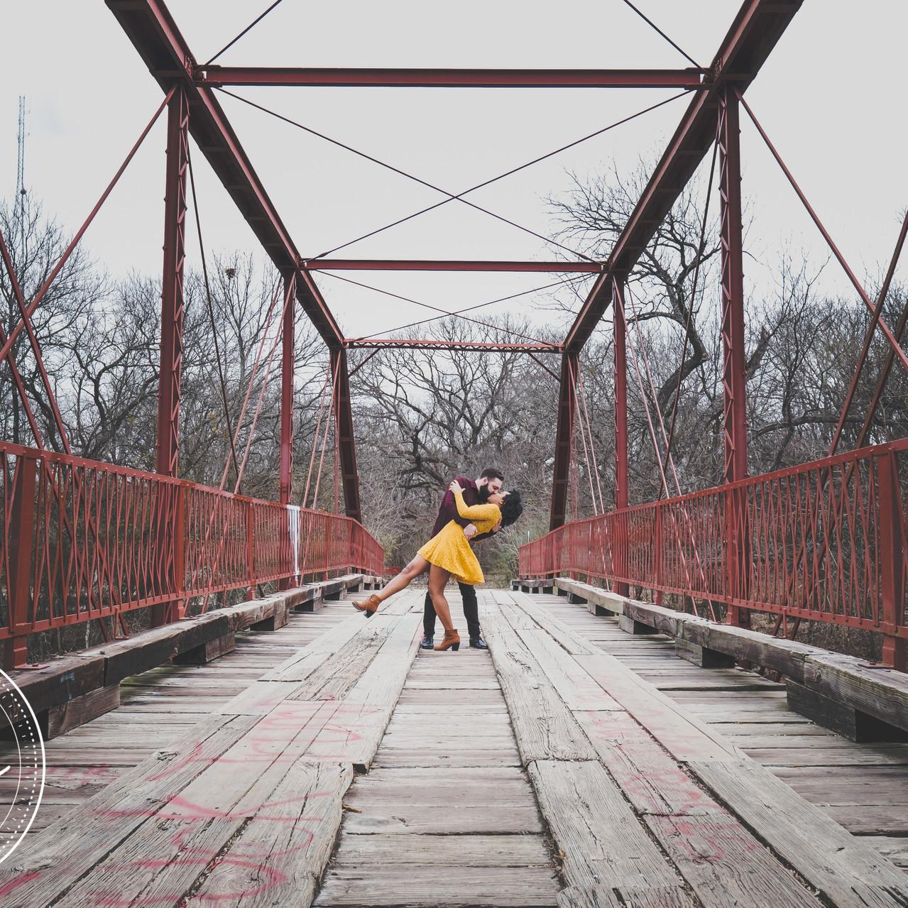 Couple on Old Alton Bridge in Denton Tx.