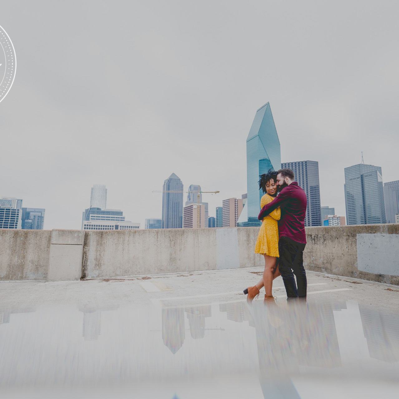 Engaged Couple with Dallas Skyline.