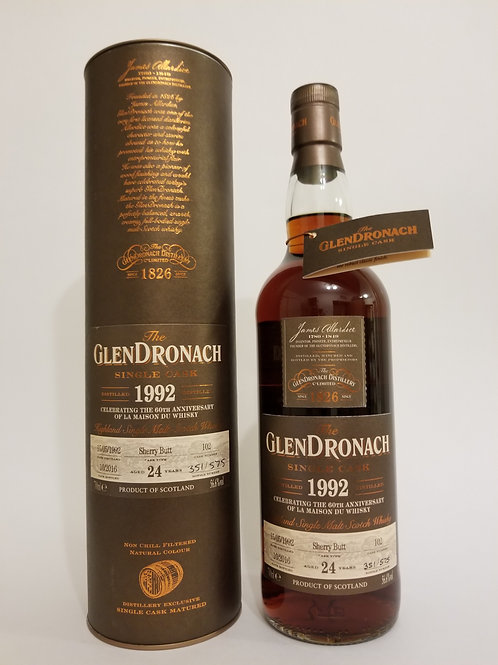Glendronach 1992 Single Cask No. 102 for 60th Anniversary LMdW