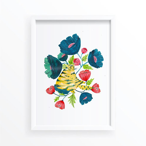 Folk Floral Cat