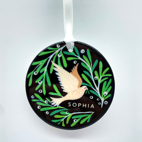 Personalised White Dove Christmas Ornament