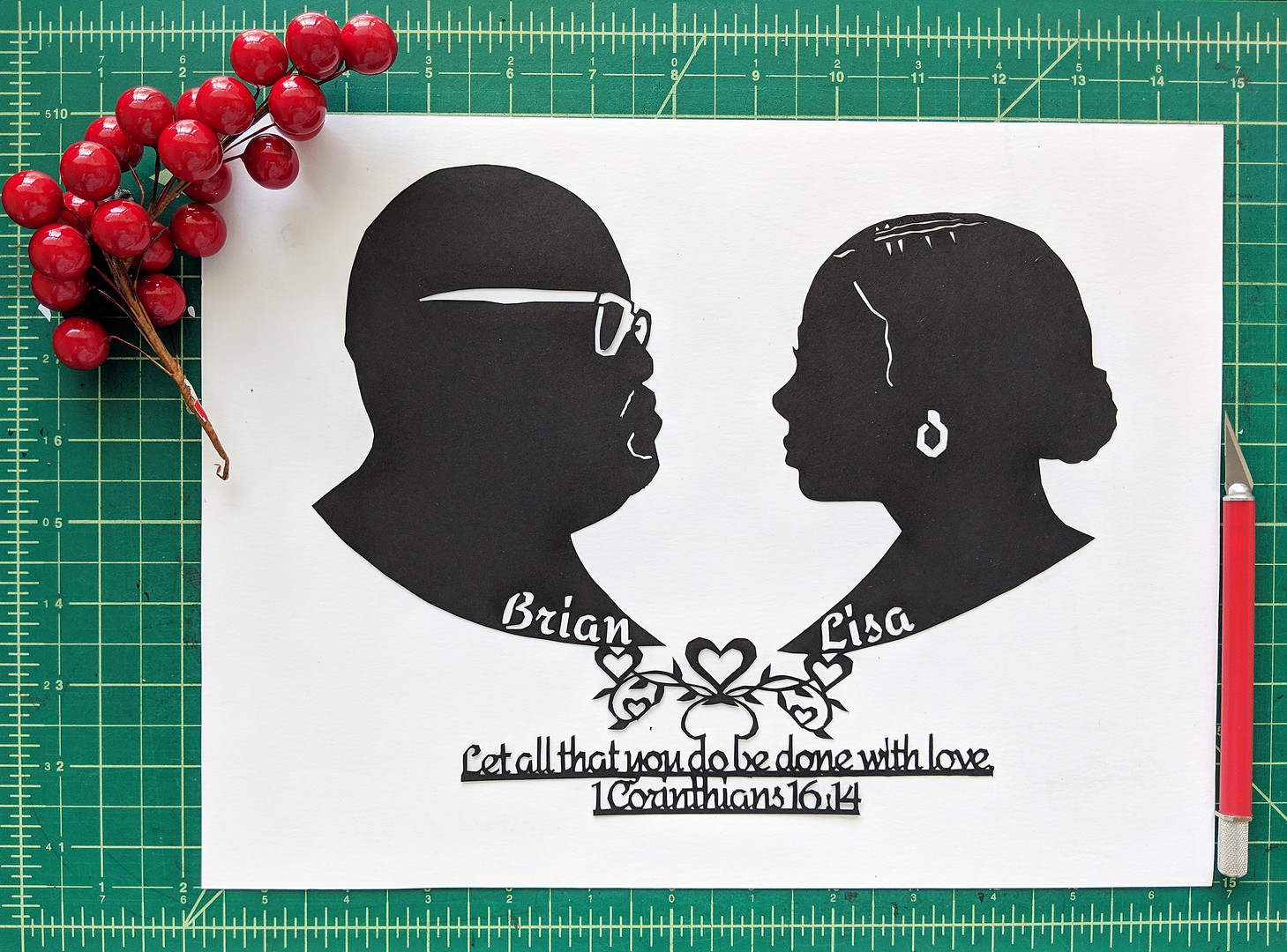 Wedding paper cut with scripture
