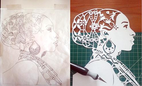 Royal Queen Silhouette Paper Cut Art