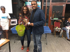 Joselyn Williams proudly collects his prize