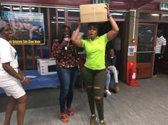Raffle ticket winner celebrates her prize