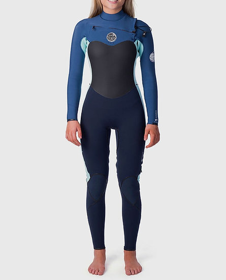 RIP CURL WOMENS FLASH BOMB CHEST ZIP 4/3 WETSUIT