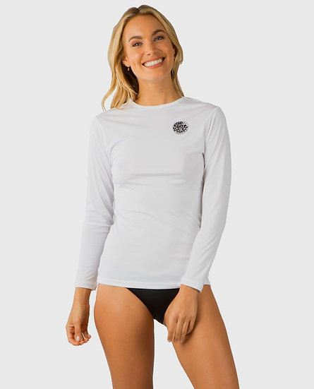 RIP CURL WOMEN'S WHITEWASH LOOSE FIT LONG SLEEVE RASH GUARD