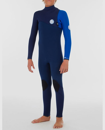 RIP CURL YOUTH FLASH BOMB ZIP FREE 3/2 WETSUIT