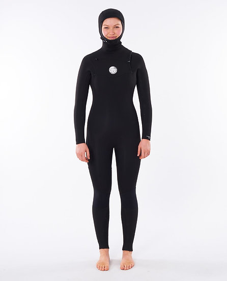 RIP CURL WOMEN'S DAWN PATROL 5/4 CHEST ZIP HOODED WETSUIT