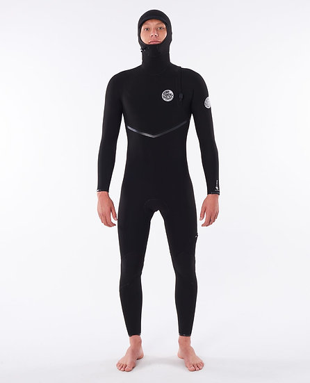 RIP CURL MEN'S E BOMB ZIP FREE 4/3 HOODED SURF WETSUIT