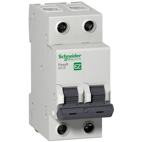 Miniature circuit breaker, Easy9, 2P, 6 A, C curve, 10000 A EZ9F56206