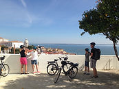 at the top of the lisbon castle by ebike