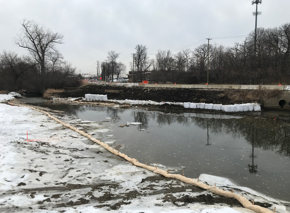 Temporary erosion control for the new Buffalo Creek alignment