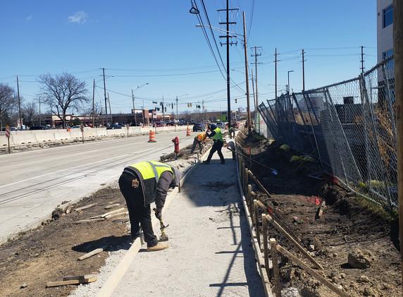 Sidewalk grading on eastbound Lake Cook Road