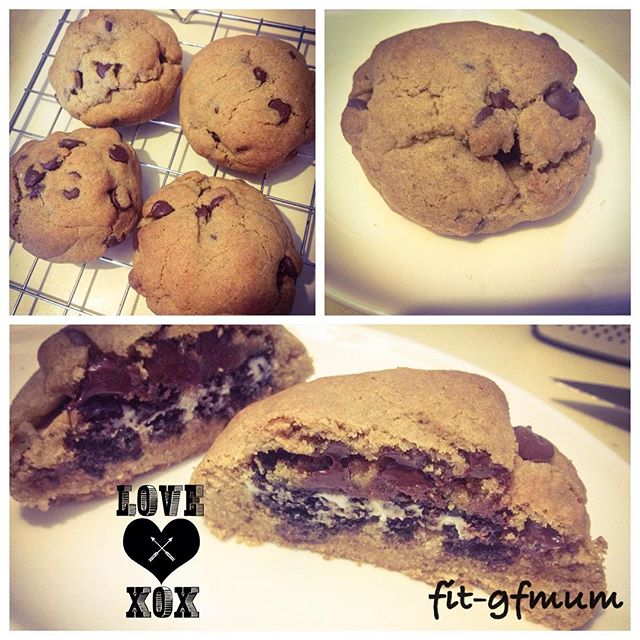Oh my, what a treat! A gluten free Oreo cookie surrounded by chocolate chip cookie dough and cooked