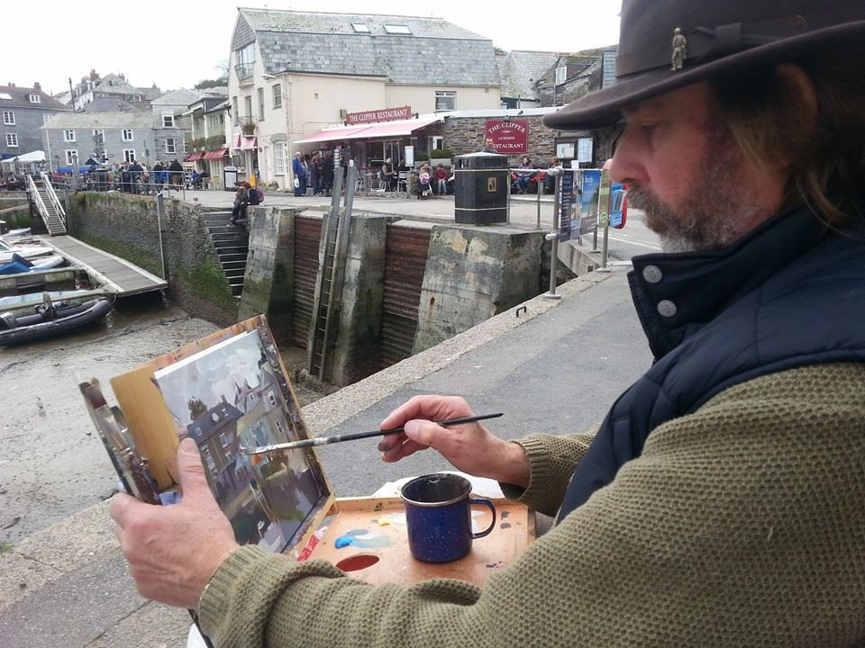 Painting in Padstwow, Cornwall