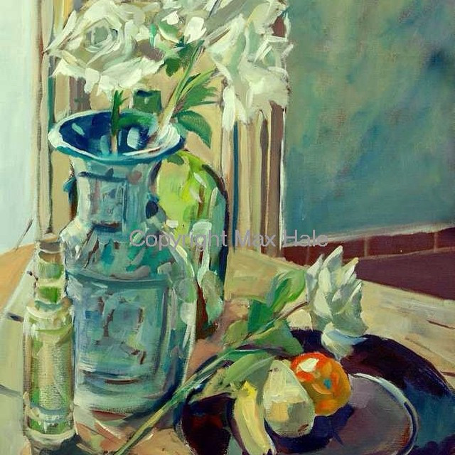 Still life with white roses by Max Hale