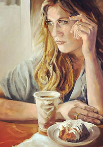 Contemplation on coffee and cake - oil o