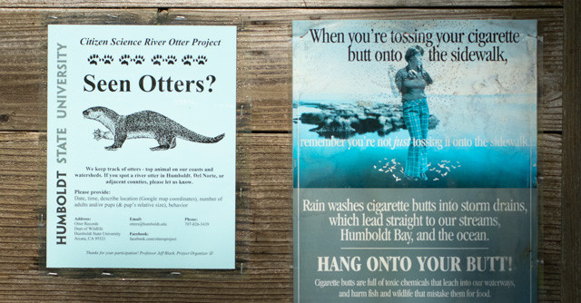 One of the fliers alerting nature-goers about HSU's river otter program