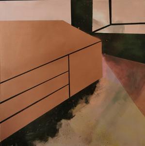 """""""Gold Unit"""" acrylic, oil, spray paint on canvas, 61cm x 61cm"""