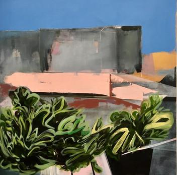 """""""Blue Sky"""" oil and acrylic on canvas 100cm x 100cm"""