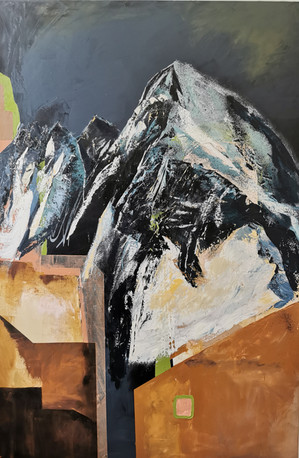 """""""Mountain AND The City""""oil on canvas, 100cm x 150cm"""